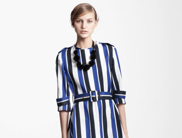 "Marni Edition Belted Stripe Dress: ""This look combines everything that's current right now: print mixing, bold stripes and a cool silhouette."""