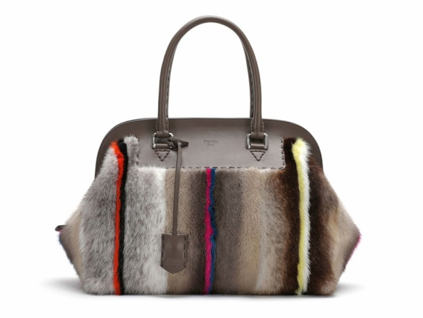 Fendi Leather and striped mink fur Adele bag, from the Selleria line, €9140.