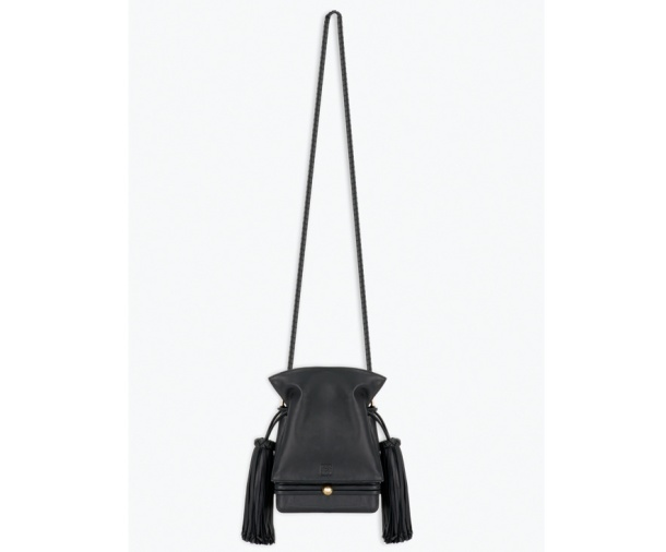 Loewe Black leather Flamenco bag, price on application.