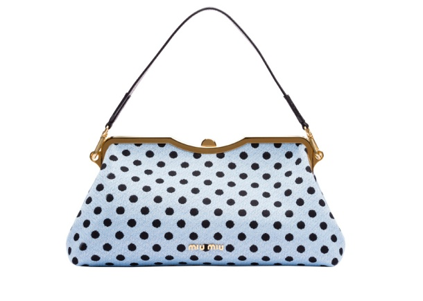 Miu Miu Jacquard wool and polka dot leather bag, €1250.