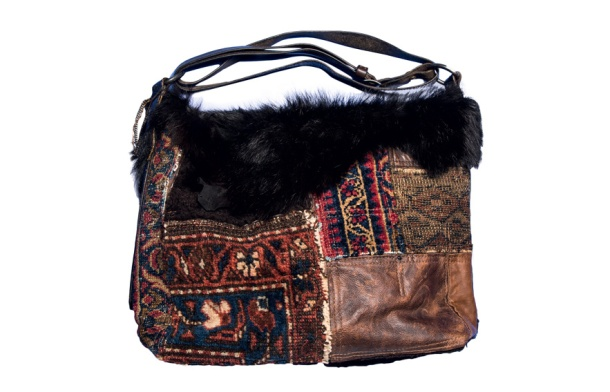 Ralph Lauren Collection Patchwork shearling, leather and tapestry bag, €1500.